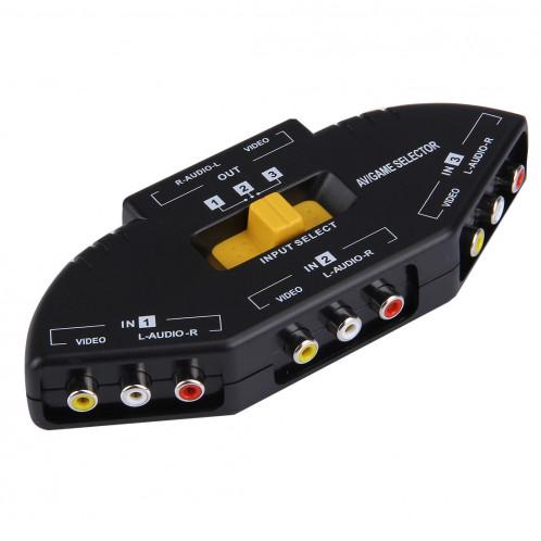 AV-33 Sélecteur de signal audio-vidéo RCA AV multi-boîtiers + 3 câbles RCA, 3 entrées de groupe et 1 système de sortie de groupe (noir) SA958B945-310