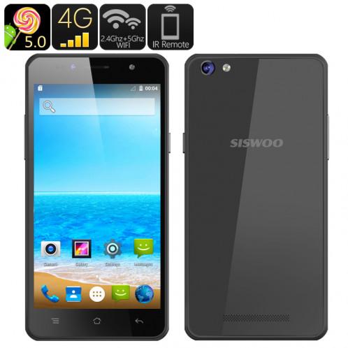 SISWOO C50 Smartphone Android 5.0 / Dual SIM 4G / CPU 64bits Quad Core / Écran 5 pouces 720p OGS / Smart Wake / Fonction IR / Noir CS7670-32