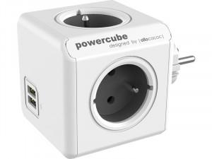 allocacoc PowerCube Original USB gris Bloc Multiprise Compact (4 x & 2 USB) ALIACC0018-20