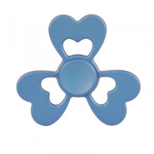 Fidget Spinner Toy Stress Reducer Jouet anti-angoisse pour enfants et adultes, 2 minutes de rotation, acier R188 Roulement de perles + Matériau en alliage de zinc, trois feuilles Coeur Forme de fleur (Bleu) SF102L-20