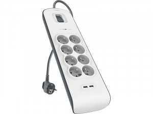 BELKIN Multiprise parafoudre 8 prises + 2 x USB 2.0 2.4 A 2 m ACDBLK0014-20