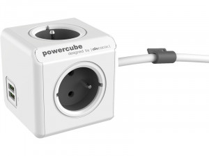 allocacoc PowerCube Extended USB 1,5m Bloc Multiprise Compact 4 Prises + 2 USB ALIACC0020-20
