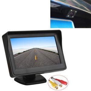 PZ601-C TFT LCD 2 entrées vidéo 4,3 pouces moniteur de stationnement 2 en 1 avec 648 * 488 pixels vue arrière caméra lentille en verre avec 6 m de câble vidéo RCA SH4202881-20