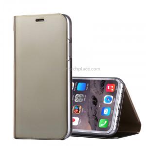 Pour iPhone X Étui à galvanoplastique Horizontal Housse en cuir Flip avec support (Or) SP591J0-20