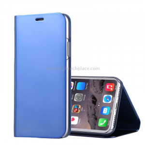 Pour iPhone X Étui à galvanoplastique Horizontal Flip étui en cuir avec support (bleu) SP591L2-20