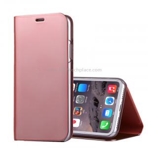 Pour iPhone X Étui à galvanoplastique en cuir horizontal en cuir avec porte-monnaie (or rose) SP91RG8-20