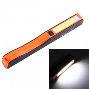 Lumière / lampe-torche de travail de forme de stylo de l'intense luminosité 100LM, lumière blanche, COB LED 2-Modes avec agrafe magnétique rotative de 90 degrés (orange) SH874E183-20