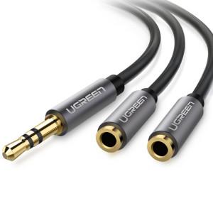 Ugreen Aluminium Alloy Shell 3.5mm Mâle à 2 x 3.5mm Femelle Casque Splitters Audio Câble Casque Audio Adaptateur SU781592-20