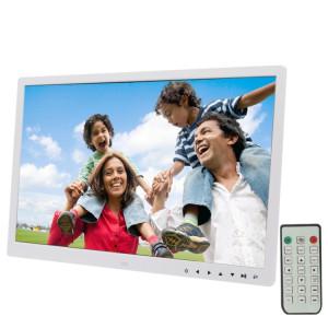 Cadre photo numérique à écran LED de 17,0 pouces avec contrôle à bouton tactile / support / télécommande, technologie Allwinner, prise en charge USB / carte SD / OTG, prise US / EU / UK (blanche) SH320W1933-20