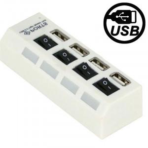 Hub USB 2.0 haute vitesse 4 ports avec commutateur et 4 LED, Plug and Play (Blanc) SH0208534-20