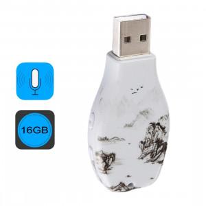 Enregistreur de voix audio portable de modèle de peinture d'encre, lecteur USB, 16 Go, lecture de musique de soutien SH44531670-20