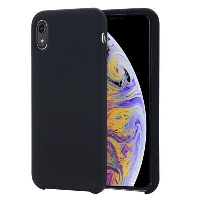 Housse de protection en silicone liquide à couverture intégrale à quatre coins pour iPhone XR 6,1 pouces (noir) SH098B136-20