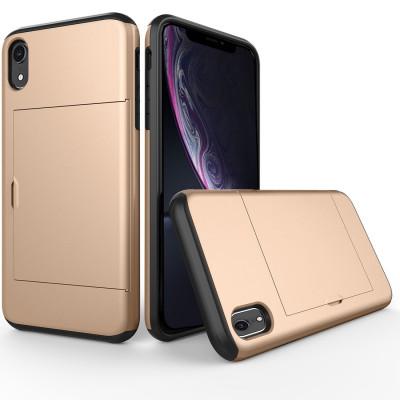 Étui de protection antichoc résistant à l'armure pour iPhone XR, avec fente pour carte (or) SH654J527-20