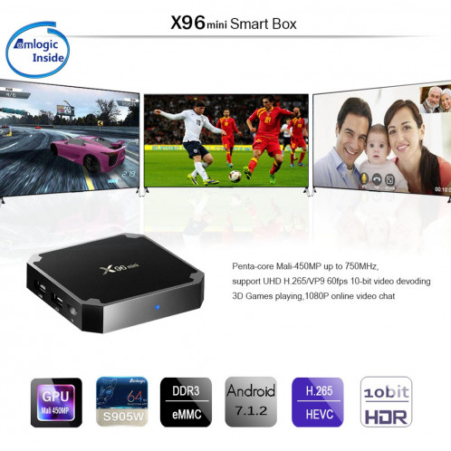 X96 mini 4K * 2K UHD sortie Smart TV BOX Player avec télécommande, Android 7.1.2 Amlogic S905W Quad Core ARM Cortex A53 2GHz, RAM: 2 Go, ROM: 16 Go, prend en charge WiFi, HDMI, TF (noir) SH991B1821-016