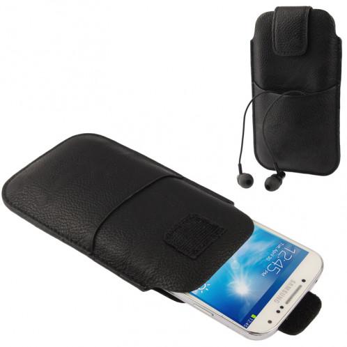 Housse en cuir universelle avec poche pour écouteurs pour iPhone X, iPhone 6 et 5, Samsung Galaxy S6 bord / S6 / S5 / S IV, Huawei P8, HTC One / G23, Sony LT29i / L36h / M35h, LG, Nokia, Taille : 15x8.8cm (Noir) SH352Y115-05