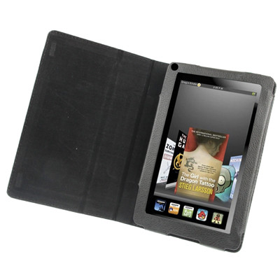 Etuis en cuir Style Book avec support pour Amazon Kindle Fire (Noir) ECSBSAKF01-03