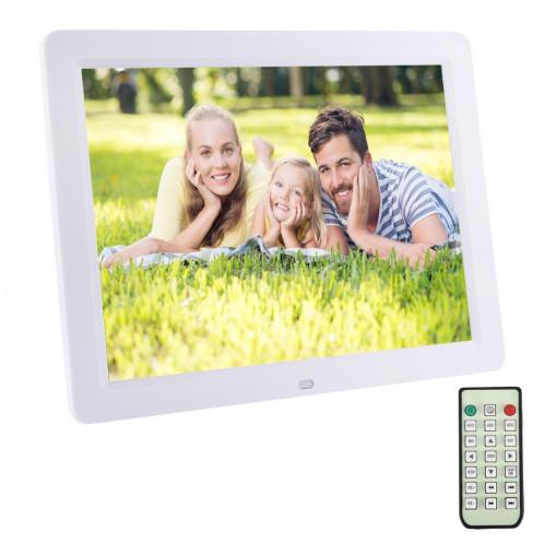 Cadre photo numérique 12.0 pouces avec support de télécommande Carte SD / MMC / MS et USB, blanc (1200) (blanc) SC126W6-38