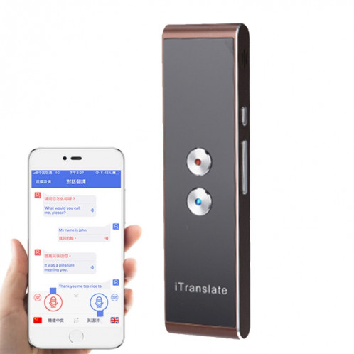 T8 Handheld Pocket Smart Traducteur de voix Traducteur de parole en temps réel avec double microphone, soutien 33 langues (or) SH087J1616-311