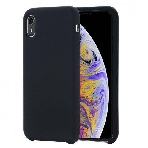 Housse de protection en silicone liquide à couverture intégrale à quatre coins pour iPhone XR 6,1 pouces (noir) SH098B136-37