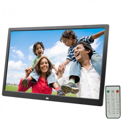 Cadre photo numérique à écran LED de 17,0 pouces avec support / télécommande, technologie Allwinner, prise en charge USB / carte SD / OTG, prise US / EU / UK (noire) SH321B1813-39