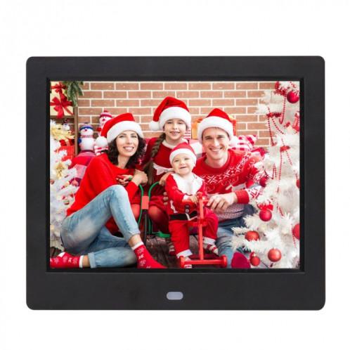 Cadre photo numérique à écran TFT AC 100-240V 8 pouces avec support et télécommande, prise en charge USB / carte SD (noir) SH512B3-38