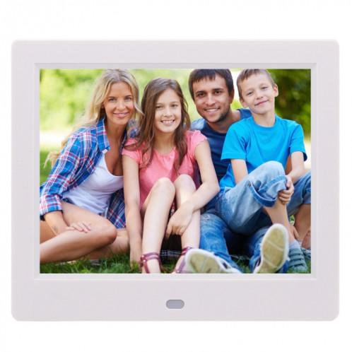 Cadre photo numérique TFT écran AC 100-240V 8 pouces avec support et télécommande, prise en charge USB / carte SD (blanc) SH512W966-38