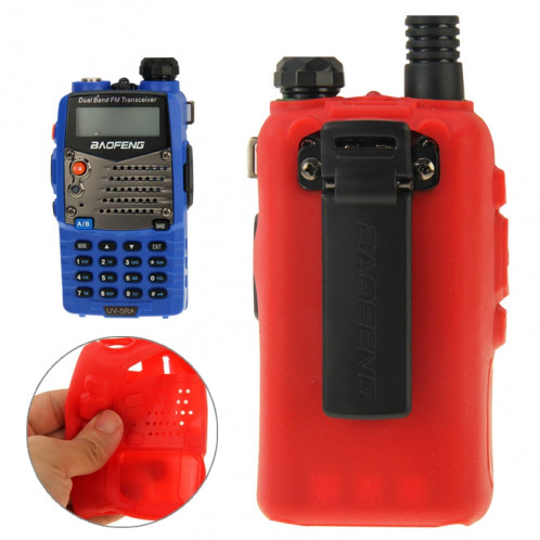 Housse en silicone Pure Color pour talkies-walkies série UV-5R (rouge) SH696R1475-38