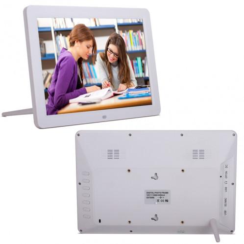 Cadre photo numérique multimédia à affichage LED de 12 pouces avec support / lecteur de musique et lecteur vidéo / fonction de télécommande, prise en charge USB / SD, haut-parleur stéréo intégré (blanc) SH017W141-311