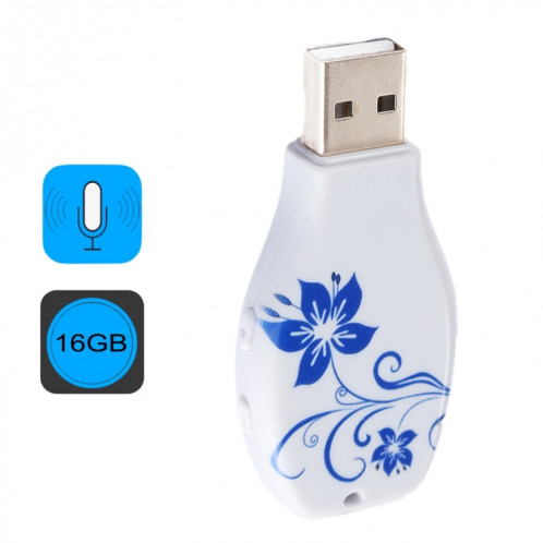 Enregistreur vocal audio portable avec motif en porcelaine bleue et blanche, 16 Go, lecture de musique avec support SH44731242-39