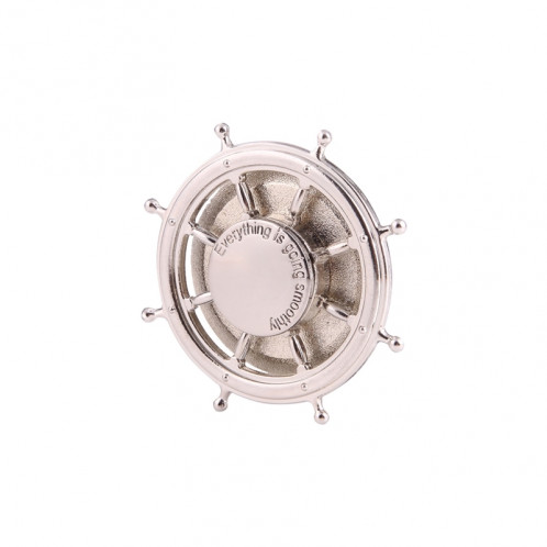 Rudder Wheel Shape Fidget Spinner Toy Stress Reducer Anti-Anxiety Toy pour enfants et adultes, environ 0,5 minutes Temps de rotation, perles en acier inoxydable Bearing + Aluminium Alloy Material (Silver) SR356S-38