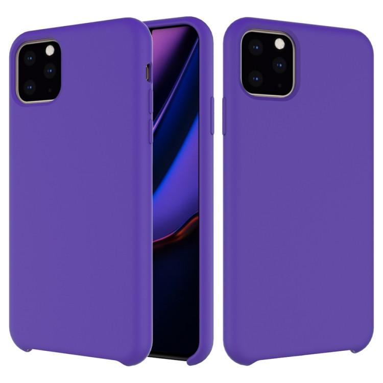 Coque antichoc en silicone liquide de couleur unie pour iPhone 11 Pro Max (Violet)