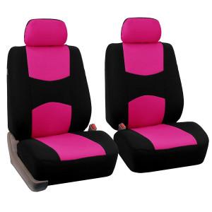4pcs / set Housse de coussin de siège avant de voiture universelle + housse de coussin de tête respirante en tissu housse de protection pad set fluorescent rose C44605178-20