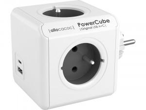 allocacoc PowerCube Original USB A+C Bloc multiprises compact (4 prises + USB) ALIACC0026-20