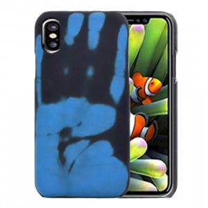 Pour iPhone X Capteur thermique anti-décoloration Housse de protection arrière (bleu) SP226L2-20
