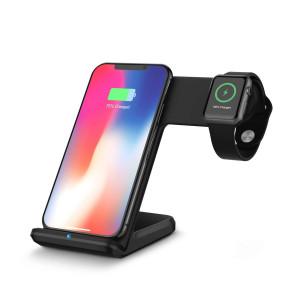 Charge sans fil 2 en 1 pour Apple Watch Qi Chargeur sans fil rapide Dock Stand pour téléphone noir C5826EKL913502-20