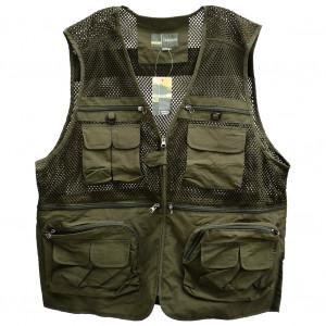 Sports de plein air pour hommes Photographie Pêche Multi-poches zippées Casual Gilet en maille lâche ArmyGreen XXL CS01011005-20