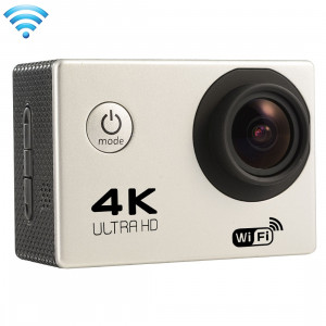 F60 2.0 pouces Écran 4K 170 degrés Grand angle WiFi Sport Action Caméscope avec boîtier étanche, carte mémoire 64Go Micro SD (Argent) SF087S8-20