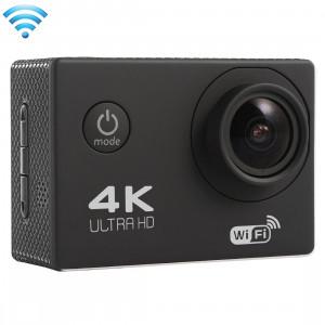 F60 2,0 pouces Écran 4K 170 degrés Grand Angle WiFi Accuppement Caméra vidéo avec boîtier imperméable pour boîtier, carte mémoire 64GB Micro SD (noir) SF087B7-20