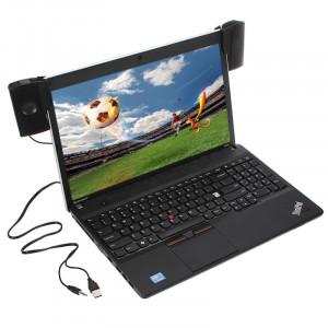 1 paire de mini haut-parleurs stéréo portable Clipon USB contrôleur de ligne barre de son pour ordinateur portable MP3 téléphone musique noir C5903MCZM10163-20