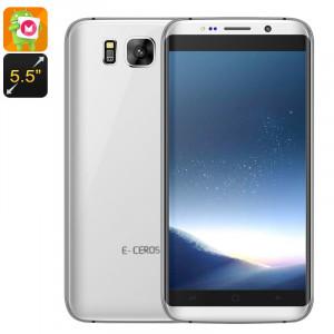 E-Ceros C8 Edge Smartphone CPU Quad-Core, 3G, Dual-IMEI, Android 6.0, écran de 5,5 pouces, Google Play, Bluetooth 4.0 (Argent) CE6656-20