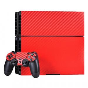 Autocollants en autocollant en fibre de carbone pour console de jeux PS4 (rouge) SA022R-20