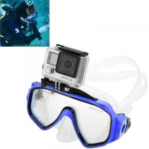 Équipement de plongée sous-marine Masque de plongée Lunettes de natation avec mont pour GoPro Hero 4 / 3+ / 3/2/1 (Bleu) S0595L-20