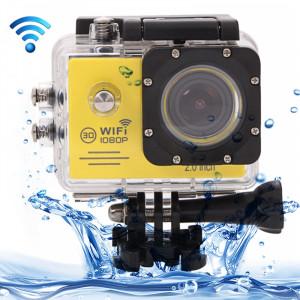SJ7000 Full HD 1080P écran LCD 2,0 pouces Caméra caméras sport novatek 96655 WiFi avec étui étanche, objectif grand angle HD de 170 degrés, 30m étanche (jaune) SS123Y5-20