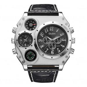 Oulm HP1349 Hommes Business Quartz Montre Bracelet de montre élégant en cuir de luxe Deux fuseaux horaires Noir C0146654-20