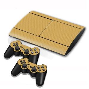Autocollants en autocollant en fibre de carbone pour console de jeux PS3 (café) SA005C-20