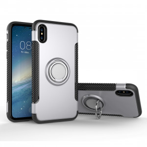 Pour iPhone X Magnetic 360 Degree Rotation Ring Armour Protector Case (Argent) SP150S4-20