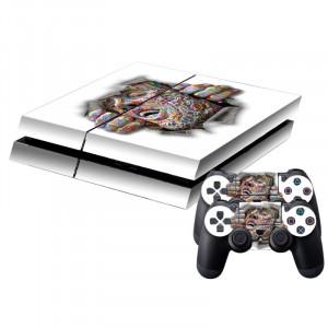 Effet 3D Color Face Pattern Peau de protection Autocollant Peau Autocollant pour PS4 Game Console SE786J-20