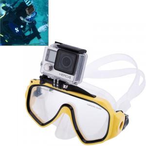 Matériel de plongée sous-marine Masque de plongée Lunettes de natation avec mont pour GoPro Hero 4 / 3+ / 3/2/1 (Jaune) SM595Y7-20