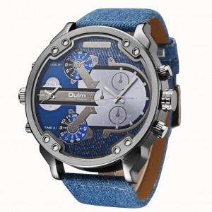 Montre en cuir de luxe élégant Oulm Men Business à deux fuseaux horaires Quartz Bleu Denim C9836841-20