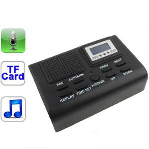 Boîte enregistreur téléphonique, prise en charge de la carte SD / MMC / TF, enregistrement vocal, fonction MP3 et horloge et écran LCD (noir) SB01085-20